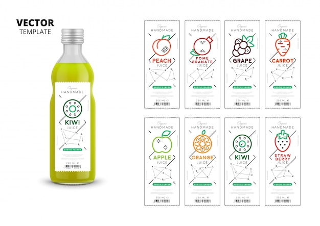 Conjunto de maquetas de envases de jugo de fruta fresca