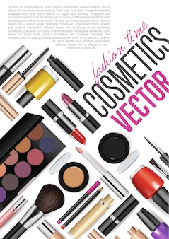 Conjunto de maquetas de herramientas cosméticas realistas