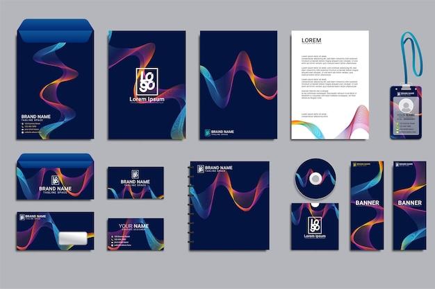 Conjunto de maquetas de identidad de marca corporativa de papelería