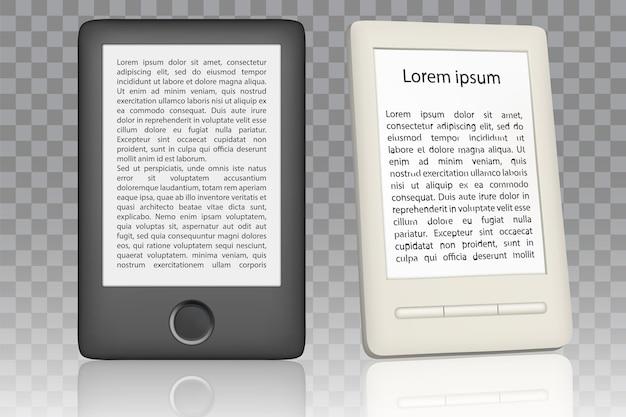 Conjunto de maquetas de lector de libros electrónicos en blanco y negro.