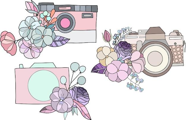 Conjunto de maquetas de logo con cámaras y elementos florales.