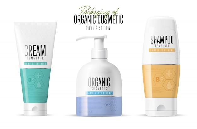Conjunto de maquetas de marca de cosméticos realistas