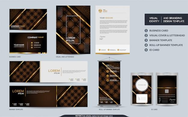 Conjunto de maquetas de papelería marrón de lujo e identidad visual de la marca con fondo abstracto de capas superpuestas.