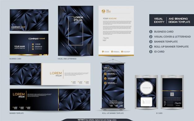 Conjunto de maquetas de papelería poligonal azul marino moderno e identidad visual de la marca con capas de superposición abstracta