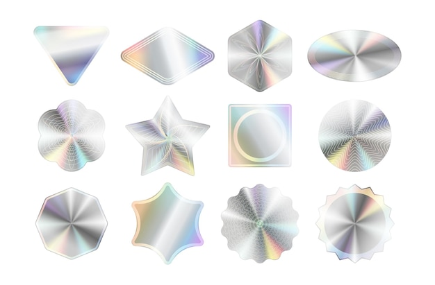 Conjunto de maquetas de pegatinas holográficas.