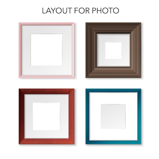 Conjunto de maquetas realistas de marcos de cuadros cuadrados de varios materiales y colores delgados y masivos