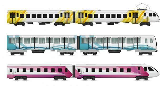 Conjunto de maquetas realistas de trenes de tranvía de pasajeros de trenes subterráneos metropolitanos e interurbanos subterráneos en la ilustración en blanco