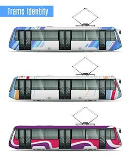 Conjunto de maquetas realistas de trenes de tranvía de pasajeros de tres vagones de tranvía similares con diferentes patrones de colores de librea ilustración