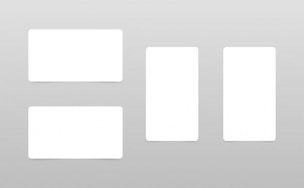 Conjunto de maquetas de tarjetas blancas aisladas