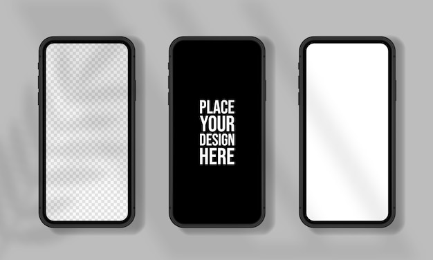 Conjunto de maquetas de teléfonos inteligentes realistas. teléfono móvil en blanco, blanco, diseño de pantalla transparente.