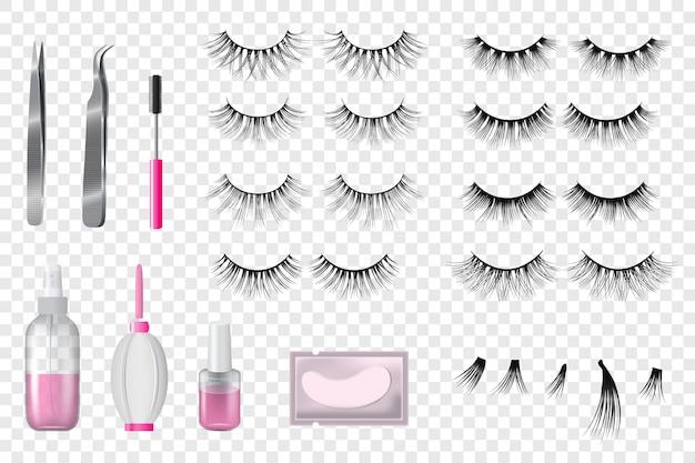 Conjunto de maquillaje de belleza falsa de pestañas de estilo realista de ilustración de pestañas hermosas aisladas