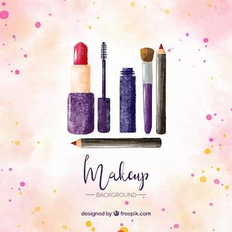 Conjunto de maquillaje con estilo de acuarela
