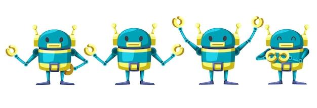 Conjunto de máquina futurista de estilo de dibujos animados de robot de carácter androide para uso industrial. ilustración aislada de tecnología de objetos cibernéticos futuristas aislados.