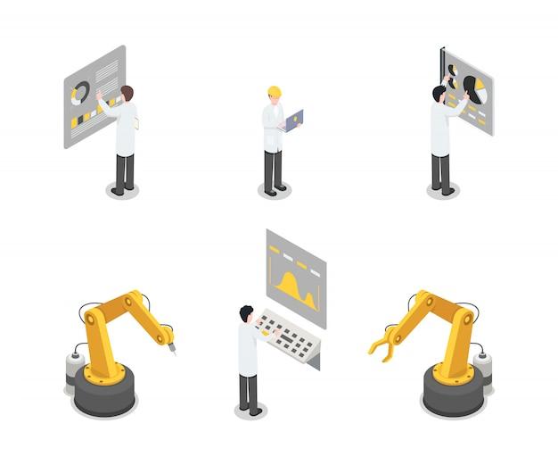 Conjunto de maquinaria industrial, ingenieros y equipos. montaje autónomo, empleados de fabricación trabajando.