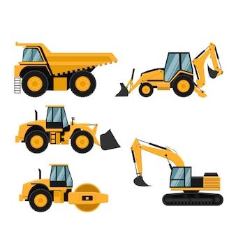 Conjunto de maquinaria pesada de construcción y minería.
