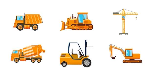 Conjunto de máquinas de construcción. conjunto de dibujos animados de la máquina de construcción