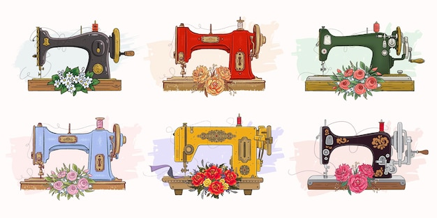 Conjunto de máquinas de coser dibujadas a mano