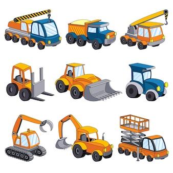 Conjunto de máquinas de elevación. conjunto de dibujos animados de máquina de elevación