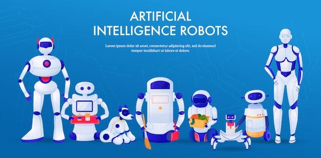 Conjunto de máquinas robots de inteligencia artificial mascotas y asistentes domésticos banner horizontal
