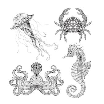 Conjunto de mar marino doodle