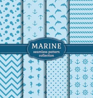 Conjunto de mar y patrones náuticos sin costura.