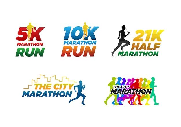 Conjunto maratón colorido ejecutar plantilla de logotipo de evento