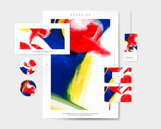 Conjunto de marca colorido con vector de diseño abstracto