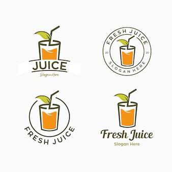 Conjunto de marca de combinación de plantilla de logotipo de bebida de jugo