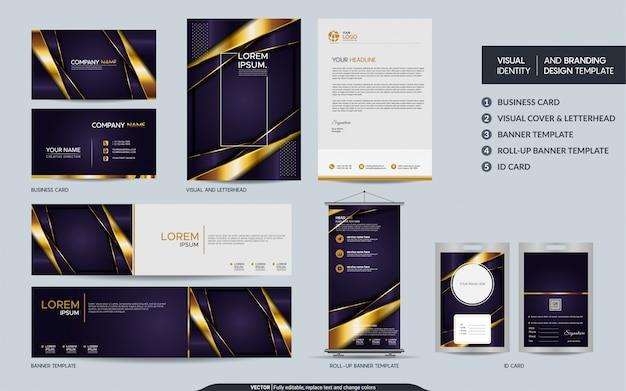 Conjunto de marca de papelería púrpura de lujo e identidad visual de la marca con capas de superposición abstracta