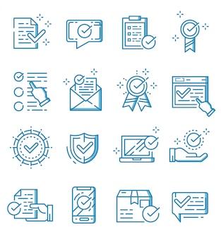 Conjunto de marca de verificación e iconos aprobados con estilo de contorno