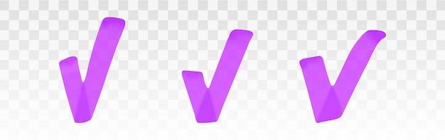 Conjunto de marca de verificación de resaltador púrpura aislado en transparente