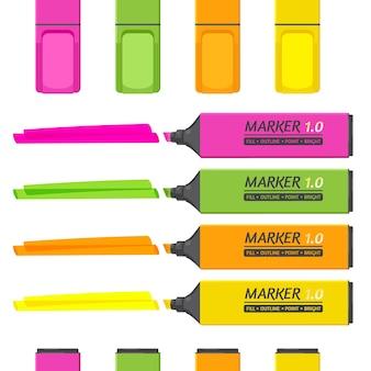 Conjunto de marcadores con elementos resaltadores aislados