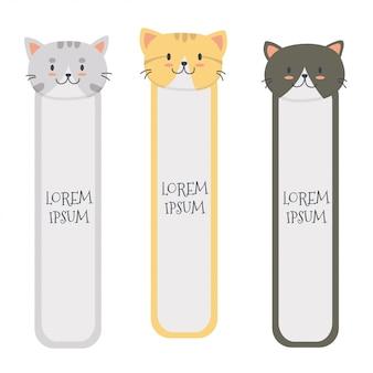 Conjunto de marcadores de gato lindo