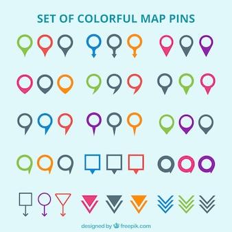 Conjunto de marcadores de mapa de colores