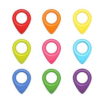 Conjunto de marcadores de mapa en diferentes colores.