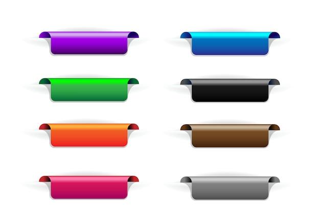 Conjunto de marcadores, marcadores. marcas de pegatinas de colores