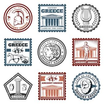 Conjunto de marcas griegas antiguas vintage
