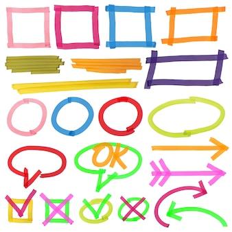 Conjunto de marcas de resaltador colorido