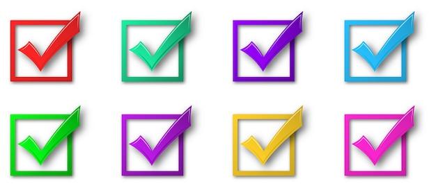 Conjunto de marcas de verificación aisladas