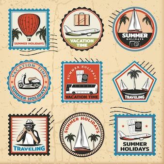 Conjunto de marcas de viaje de colores vintage