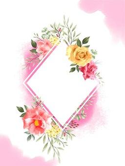 Conjunto de marco con acuarela rosa rosa