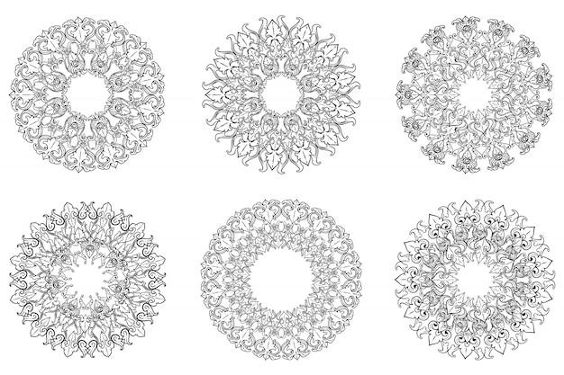 Conjunto de marco de adorno clásico florecer vintage frontera arte decorativo