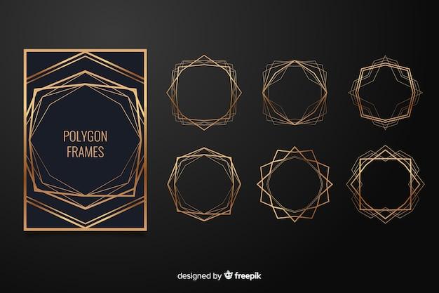 Conjunto de marco de boda poligonal dorado