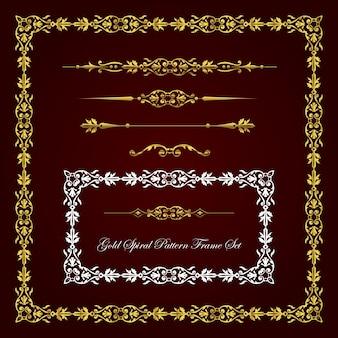 Conjunto de marco y borde de patrón espiral dorado.