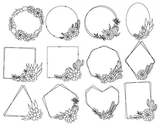 Conjunto de marco de cactus. colección de hermosos arreglos vegetales con borde floral.