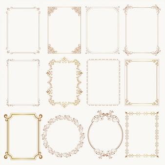 Conjunto de marco caligráfico otborders esquinas marcos ornamentados.