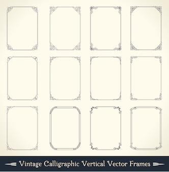 Conjunto de marco caligráfico vintage