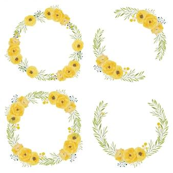 Conjunto de marco de círculo acuarela flor rosa amarilla