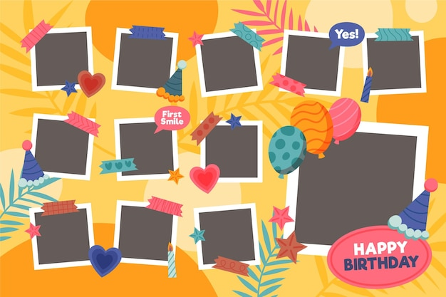 Conjunto de marco de collage de cumpleaños plano