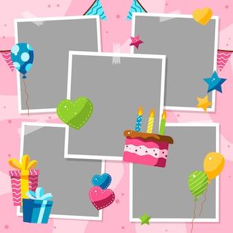 Conjunto de marco de collage de cumpleaños